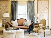 living-room-decorating-ideas-eclectic-decor-french-chairs-blue-curtain