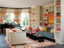 Cute-Living-Room-Traditional-design-ideas-for-Brown-And-Orange-Curtains-Decorating-Ideas