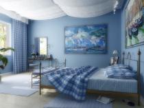 Kletchatye-sinie-schtory-v-spalne