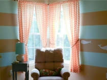 Orange-Chevron-Curtain-Come-With-Fabric-Material-Curtain-For-Window-Decoration-Together-Blue-And-Brown-Striped-Pattern-Painted-Wall