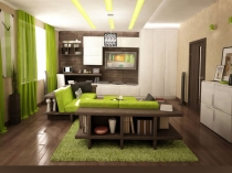 Perfect-Interior-of-Japanese-living-room-design-with-green-color-accent