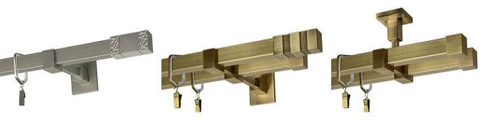 На фото представлены металлические направляющие прямоугольного сечения с креплением на потолок или стену, в зависимости от выбора кронштейнов