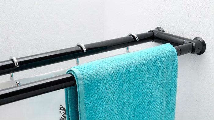 Двухрядные модели очень удобны для ванной – все под рукой: на одну штангу вешаются шторы, на другую - полотенца