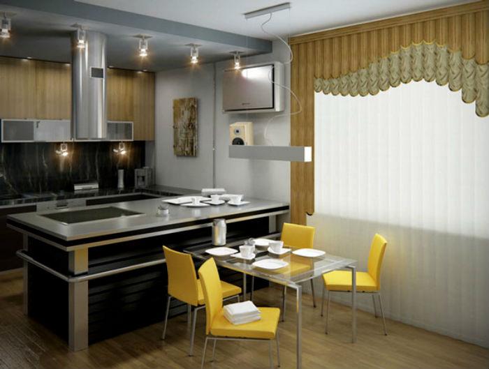 На большую кухню как нельзя кстати придутся жалюзи в пол, они намного практичней и не такие громоздкие, как обычные тканевые шторы