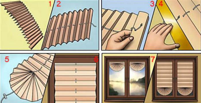 Пошаговая инструкция для изготовления бумажных жалюзи плиссе