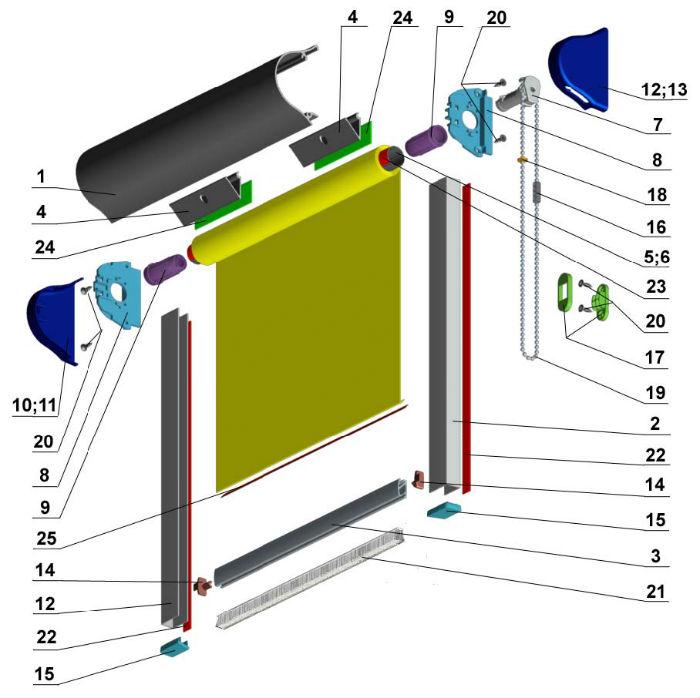 Подробная схема комплектующих, из которых состоят рулонные шторы