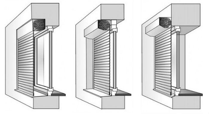На фото варианты, как в туалете закрепить жалюзи, слева – направо: короб внутрь, короб наружу, накладные