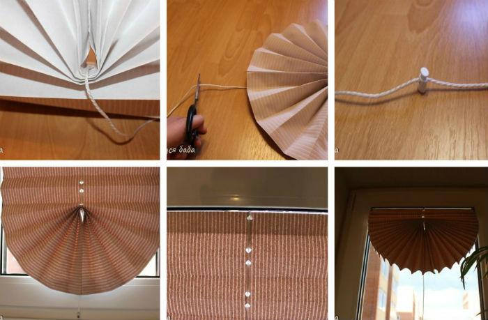 Пример, как сделать жалюзи плиссе из бумаги со свагом