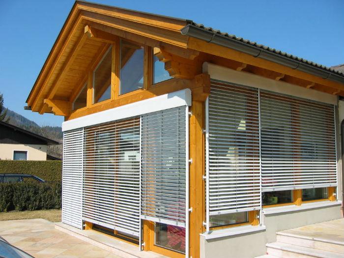 Фото кассетных фасадных жалюзи, рафшторы позволяют регулировать поток солнечного света и надежно защищают от злоумышленников