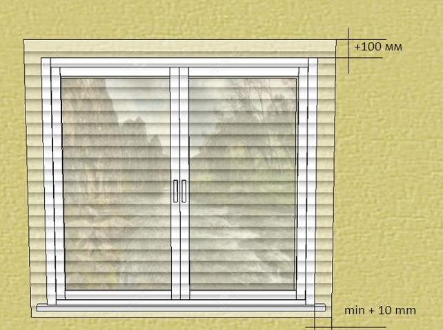 Схема припусков к размерам проема для занавесок, установленных в простенок над окном