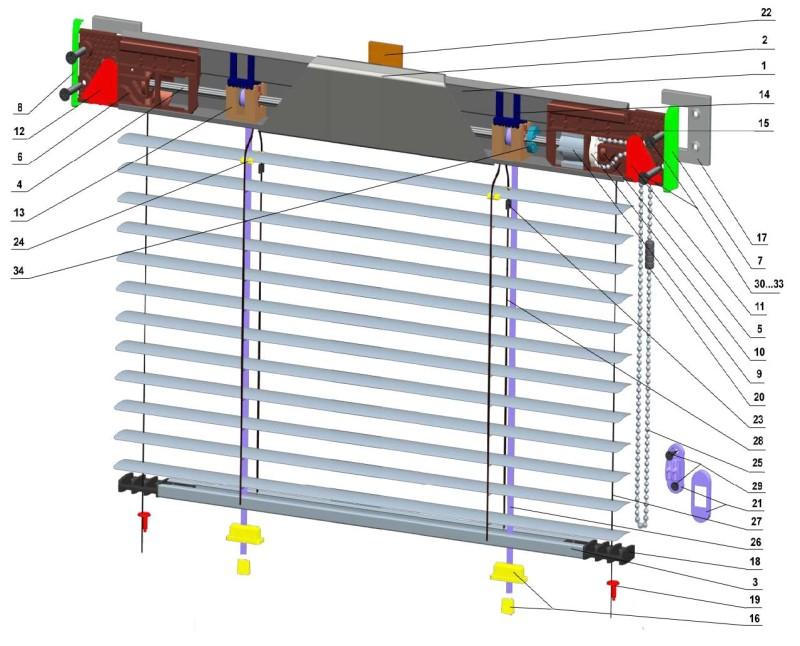 Схематичная конструкция стандартных горизонтальных жалюзи