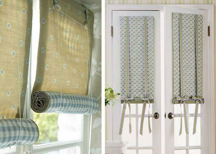 Модель дилижанс очень проста и функциональна, такие шторки можно сделать своими руками