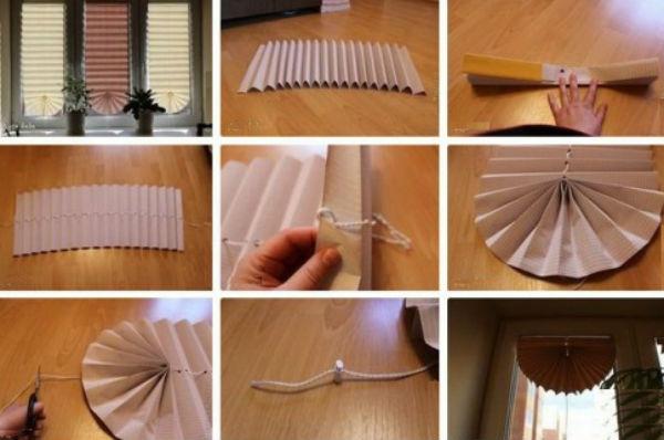 Поэтапные фото, как изготовить бумажные плиссированные шторы со свагом