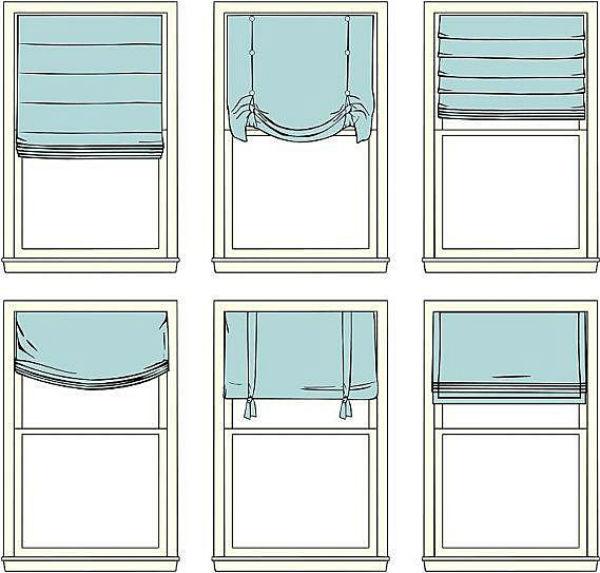 На схеме представлены несколько вариантов подъема римских штор
