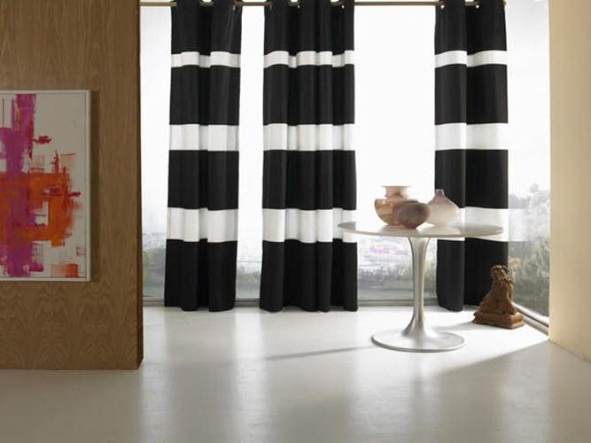 Черно-белые полоски придадут интерьеру строгости и элегантности
