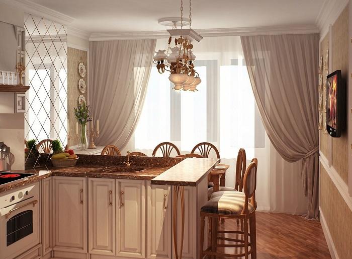 Легкие шторы в интерьере кухни