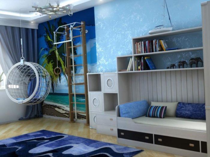Голубые обои идеально подойдут для спальни юного пирата