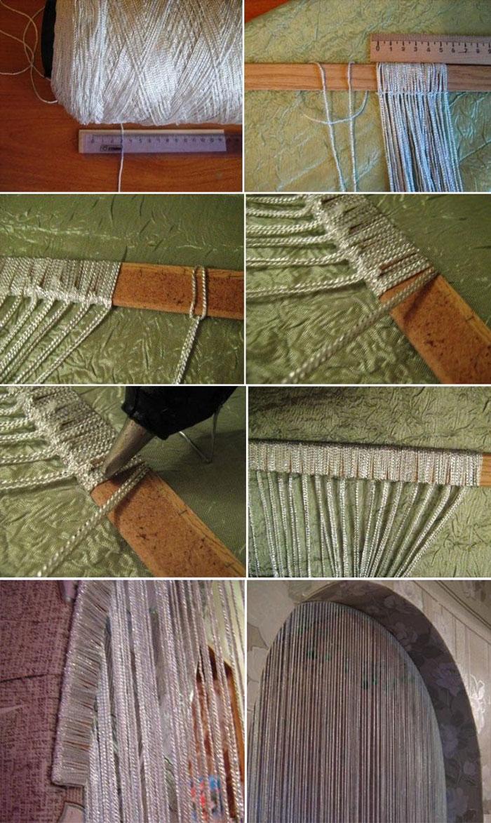 На пошаговом фото мастер классе видно, что сделать шторы-нити в домашних условиях – очень просто