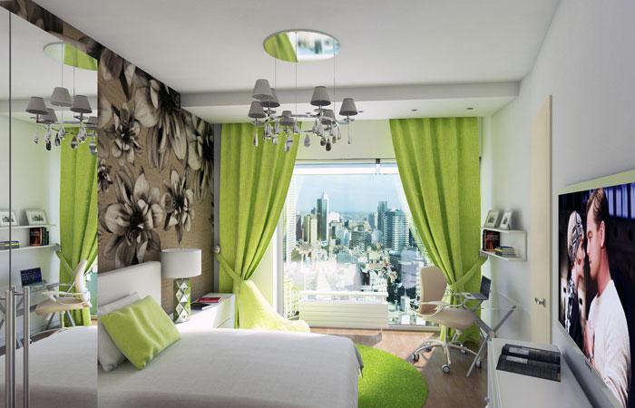 Зеленый цвет в оформлении спальни на фото