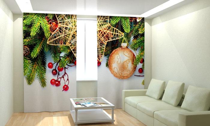 В новогодние праздники вы можете украсить гостиную в соответствующем стиле
