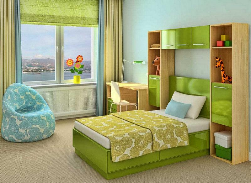 Фото «двухцветной» детской комнаты.
