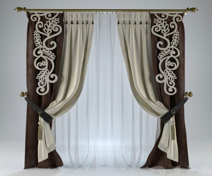 С помощью техники гильоширования можно создать оригинальный дизайн штор, например, как на этом фото
