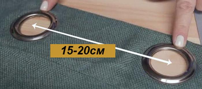 Оптимальная длина между люверсами – 15-20 см